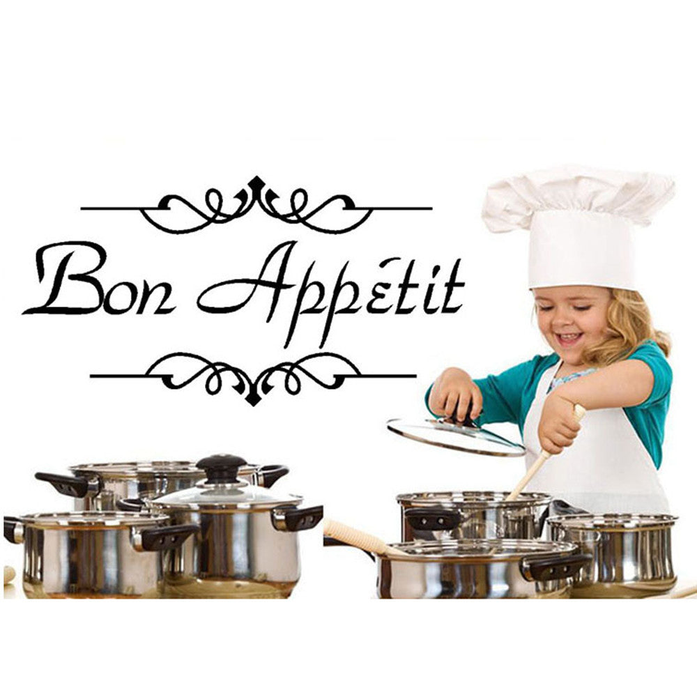 1PC Vinyl Wall Stickers Quote Bon Appetit Dinning Room Decor Kitchen Decals Art