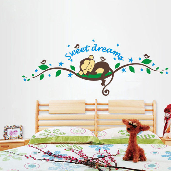2015 Brand 2014 New fashion wall sticker Sweet Dreams Monkey Removable Vinyl Decal Mural Home Decor Wall Sticker Home Decor