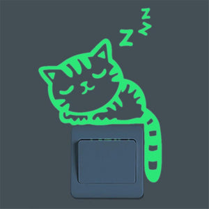 Cute Creative Cat Luminous Noctilucent Glow in the dark Switch Wall Sticker Home decoration