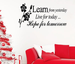 Learn From Yesterday Family Love Art Wall Quotes wall stickers for kids bedrooms  Wall Decals