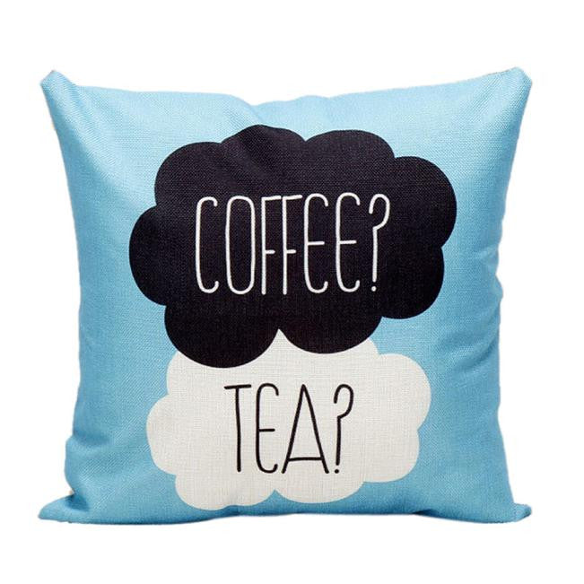 Coffee or Tea Sofa Bed Home Decor Pillow Case Cushion Cover