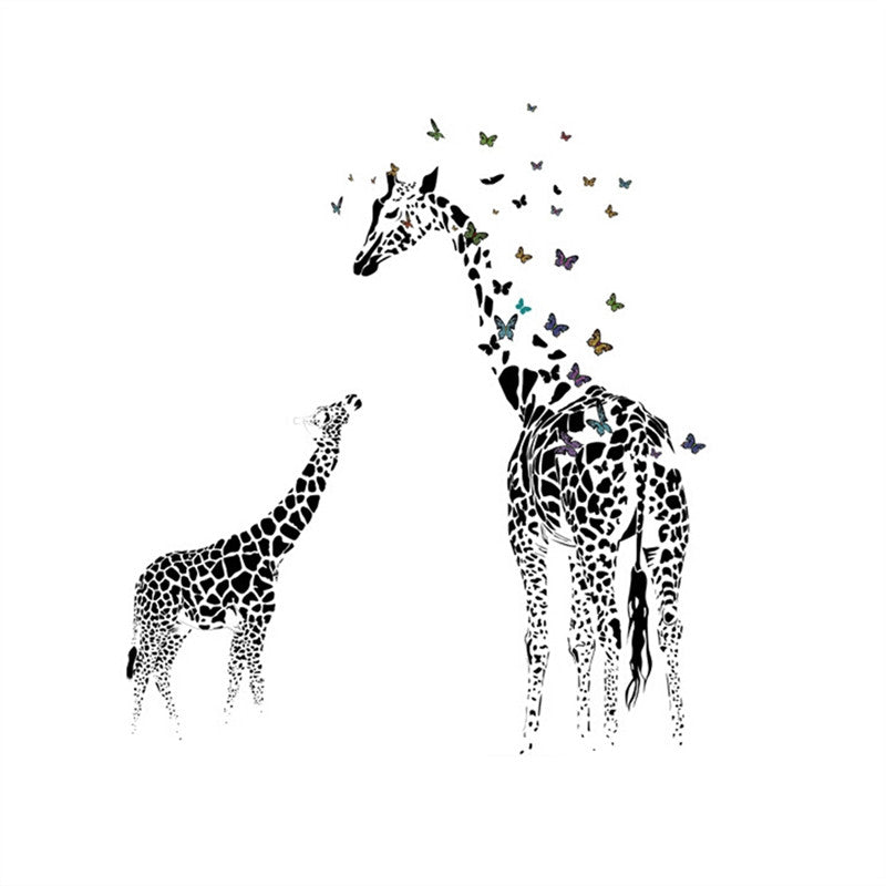 Butterfly Giraffe Wall Sticker Wallpaper Removable Art Murals Wall Decals for Kids Room Nursery Room Bedroom Living Room Decoration