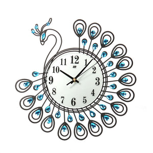 Luxury Vintage Art Wall Clocks Metal Peacock Non-Ticking Silent Dazzling Clock Wall Clock Watch Room Art Home Decor