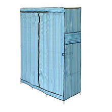 Blue Simple Design 68 Inch +70 Inch Folding Closet Wardrobe Clothes Stainless Rack Organizer Storage Wardrobe Cabinets