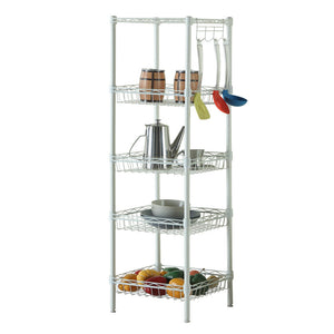Concise 5 Layers Carbon Steel & PP Storage Rack Ivory White