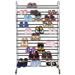 10-tier 60 Pair Shoes Large Capacity Chrome Plating Shoe Rack Chrome
