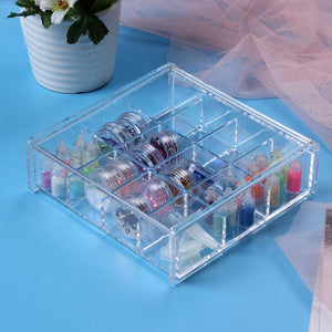 12 Lattices Clear Cosmetics Organizer Makeup Storage Box Acrylic Nail Art Rhinestone Storage Case Jewelry Container Holder