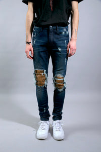 JEAN DB-M1  Dark blue/Brown Python