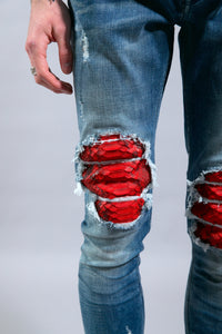 JEAN LB-R1  Light blue/red Python
