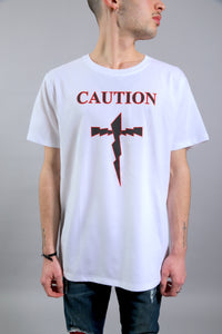 T-SHIRT CAUTION - WHITE