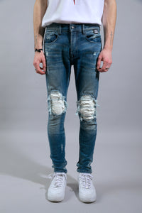 JEAN LB-W1   Light Blue/White Python