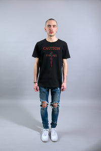 T-SHIRT CAUTION - BLACK