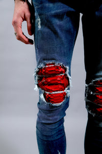 JEAN DB-R1   Dark Blue/Red Python