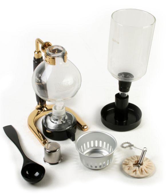 Italian Vacuum Coffee Maker : Sorrentina Coffee Online Store - Bellina 2/3 Cup TCA-3 SILVER Vacuum/Siphon/Siphon Coffee Maker
