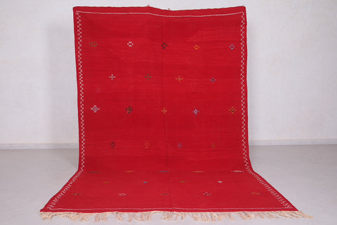 Red Moroccan Rug 6.2 FT X 9.9 FT