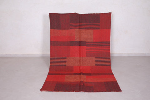 Handmade moroccan rug red 4.5 FT X 7.3 FT