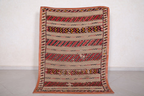 Khemisset old Straw Berber Mat 3.7 FT X 5.1 FT