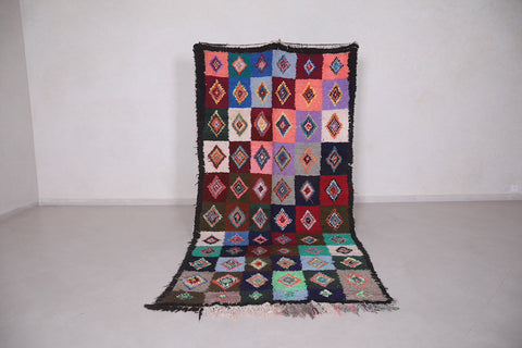 Colorful Moroccan boucherouite rug 4.7 FT X 9.8 FT