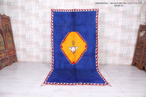 Moroccan blue rug 4.6 FT X 9.1 FT