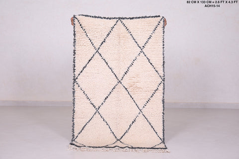 Small Beniourain, 2.6 FT X 4.2 FT, Hand made moroccan rug