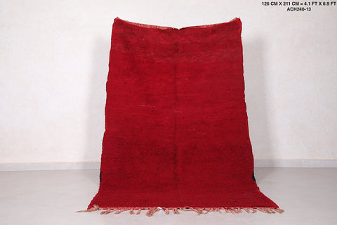 Solid Moroccan red rug 4.1 FT X 6.9 FT