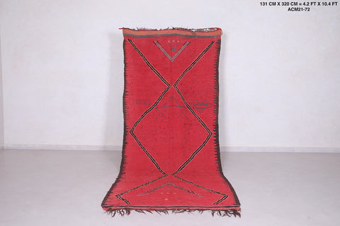 Long Moroccan red rug, 4.2 FT X 10.4 FT