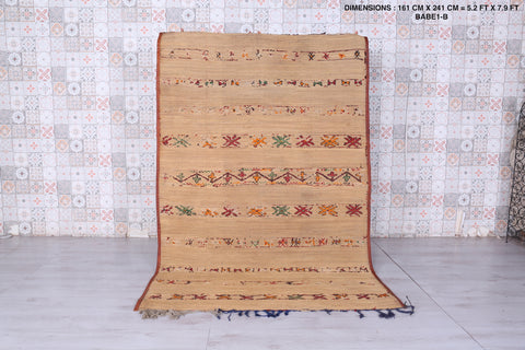 Moroccan hassira rug,  5.2 FT X 7.9 FT