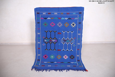 Handwoven Blue Kilim, 3.3 FT X 4.6 FT