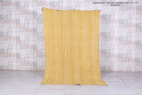 Mustard African Old Textile, 4.8 FT X 7.4 FT