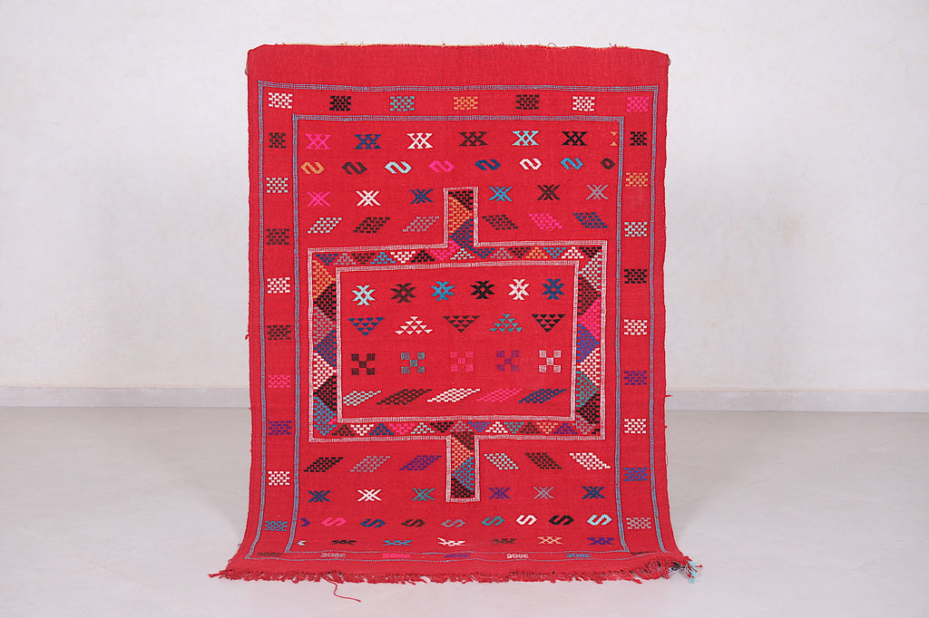 Handwoven red kilim, 3.4 FT X 4.8 FT,