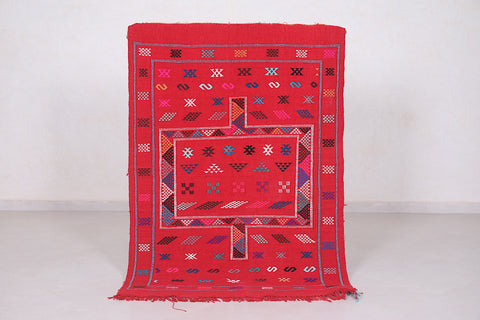 Red kilim rug 3.4 FT X 4.8 FT