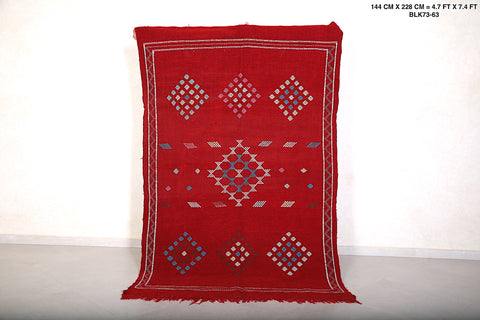 Red kilim Handwoven rug, 4.7 FT X 7.4 FT