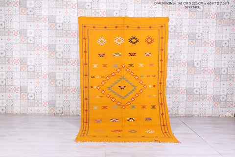 Yellow kilim rug 4.6 FT X 7.5 FT