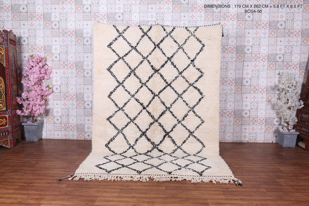 Hand knotted rugs, Beni ourain rug, 5.8ft x 8.5ft