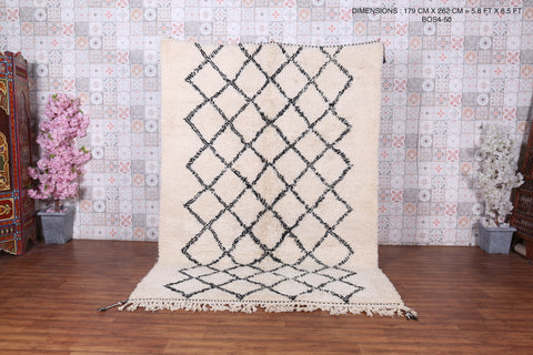 Hand knotted rugs, Beni ourain rug, 5.8 FT X 8.5 FT