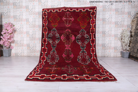 Large Moroccan red rug, 6.2 FT X 11 FT