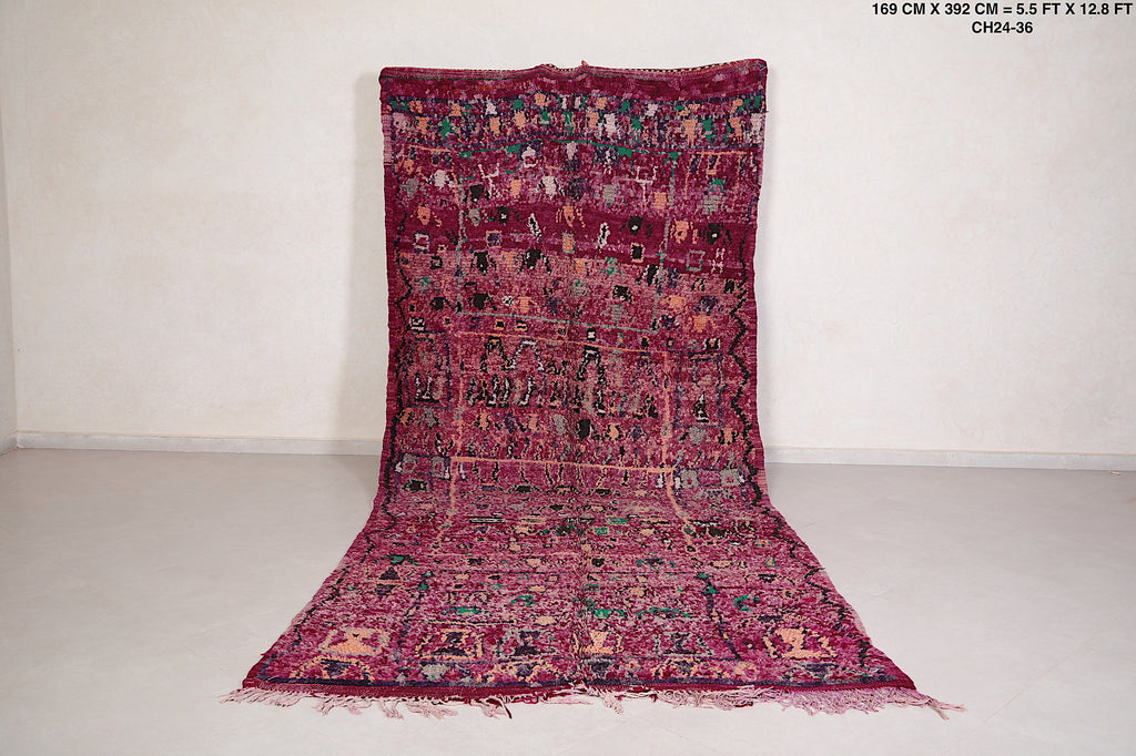 Vintage Fabulous Moroccan Purple rug, 5.5 FT X 12.8 FT