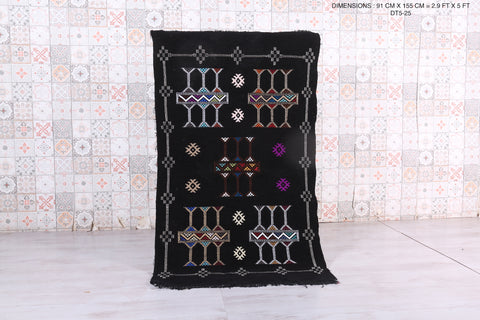 Black Kilim from Morocco, 2.9 FT X 5 FT