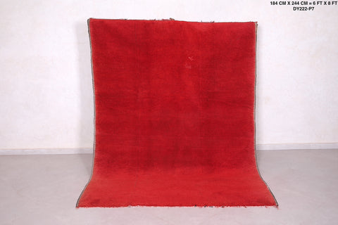 Moroccan rug red,  6 FT X 8 FT, Berber solid rug