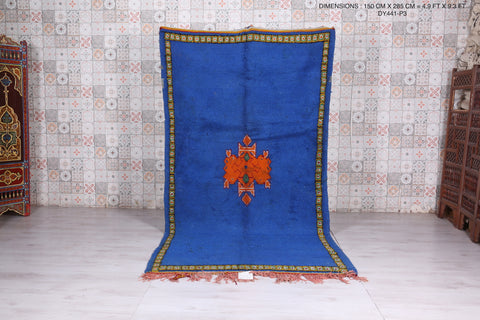 Moroccan rug blue ,  4.9 FT X 9.3 FT