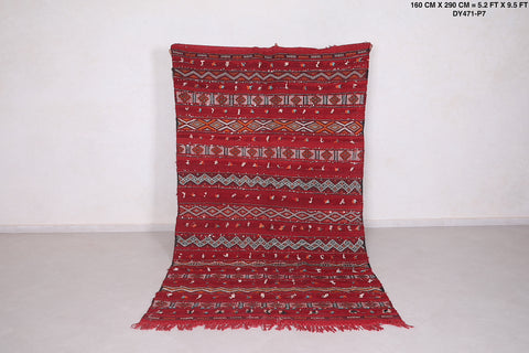 Hand Woven moroccan rug 5.2 FT X 9.5 FT