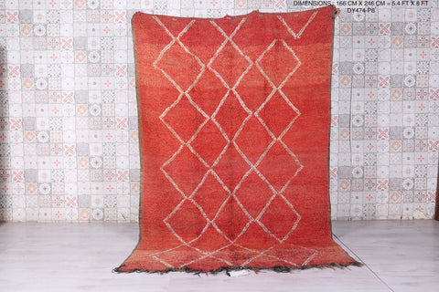 Moroccan rug red, 5.4 FT X 8 FT