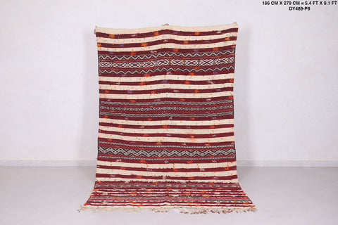Hand woven moroccan rug, 5.4 FT X 9.1 FT