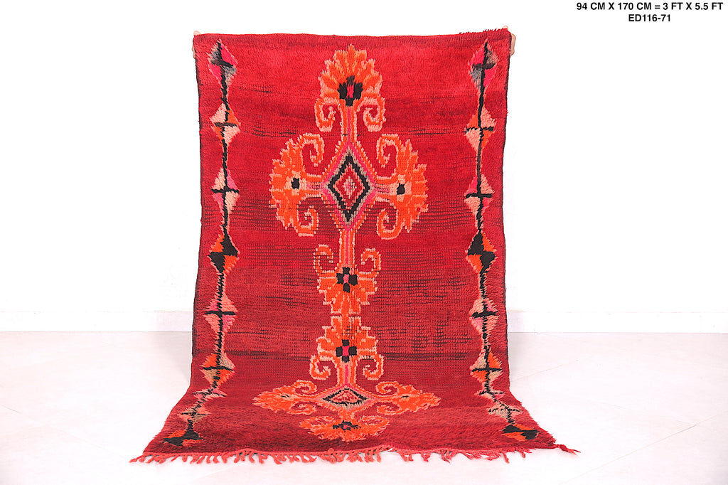 Moroccan red rug, 3FT X 5.5FT,
