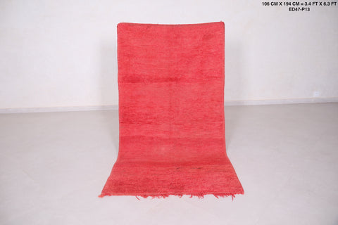 Moroccan rug red 3.4 FT X 6.3 FT