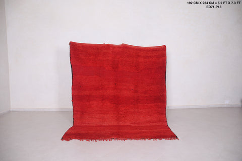 Solid moroccan rug red,  6.2 FT X 7.3 FT