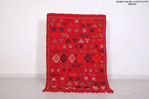 Red Moroccan kilim rug 3.2 FT X 4.7 FT