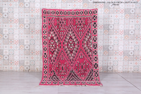 All wool Moroccan rug, 3.8ft x 5.8ft