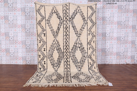 Moroccan beni ourain rug 6.1ft x 10.4ft