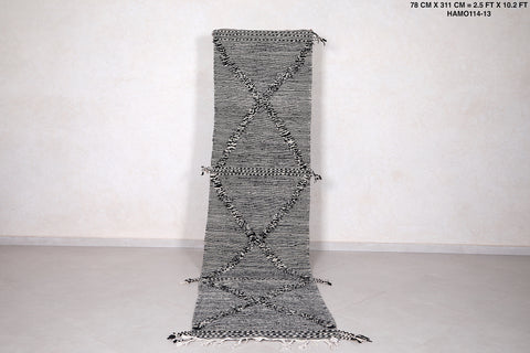 Runner moroccan rug , Grey berber carpet, 2.5 FT X 10.2 FT